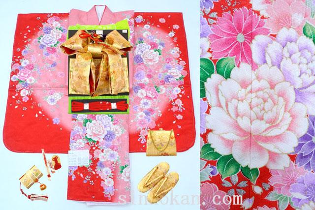 七五三 正絹7歳用女の子高級着物フルセット◆赤ピンク系 花◆sda004