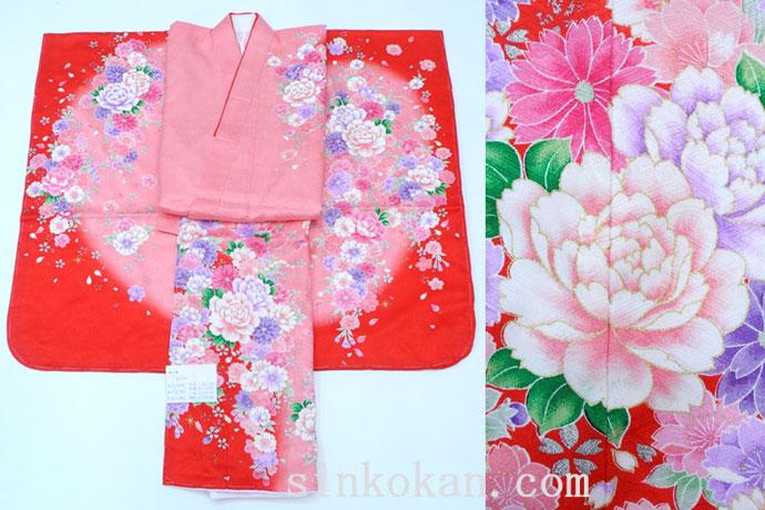 七五三 正絹7歳用女の子高級着物◆赤ピンク系 花◆sda004