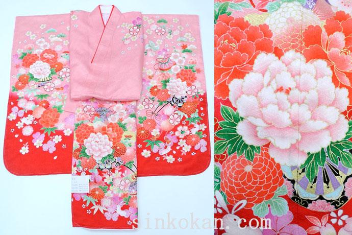 七五三 正絹7歳用女の子高級着物◆ピンク系 花車に兎◆sda001