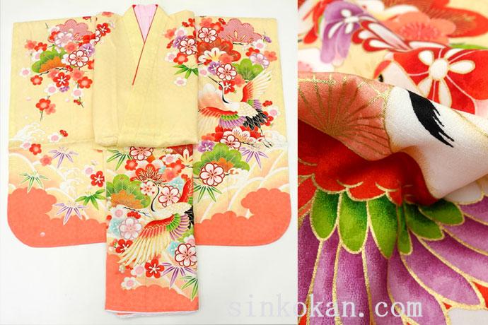 七五三 正絹7歳用女の子高級着物◆ベージュ系 鶴に桜◆sdyuri005