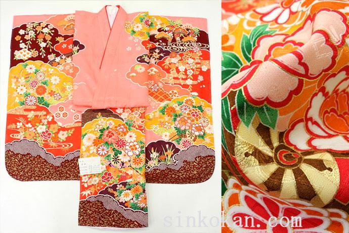 七五三 正絹7歳用女の子高級着物◆しぼり柄 ピンク系 花車に花◆sdyuri008