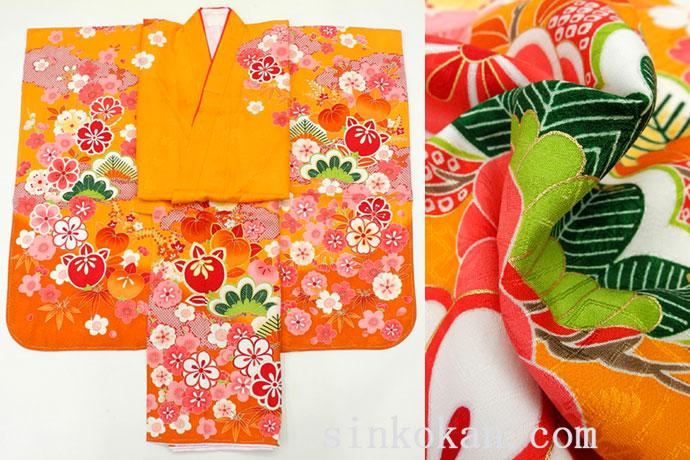 七五三 正絹7歳用女の子高級着物◆しぼり柄 オレンジ色系 古典調柄◆sdyuri012