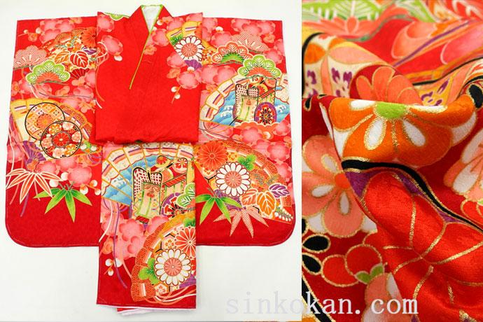 七五三 正絹7歳用女の子高級着物◆赤色系 扇に御所車◆sdyuri017