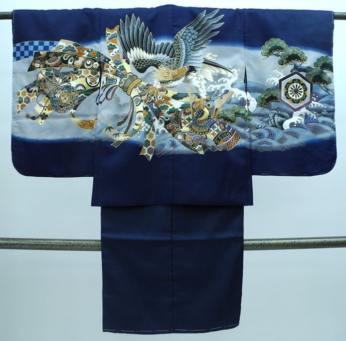 七五三 新作 5歳男の子着物・羽織セット◆濃紺系 鷹に束ね熨斗◆sdn007