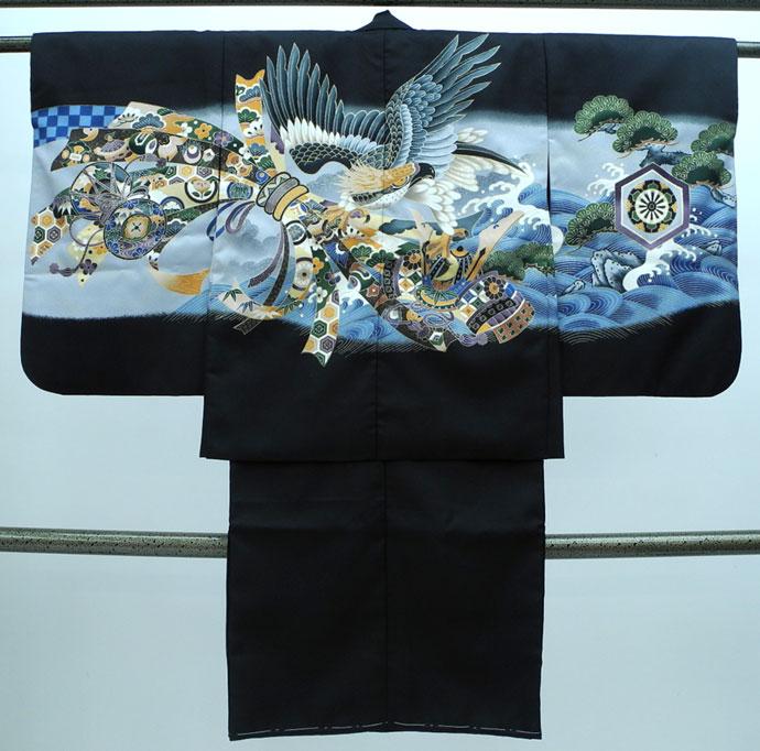 七五三 新作 5歳男の子着物・羽織セット◆黒色 鷹に束ね熨斗◆sdn009