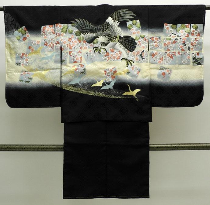 七五三 新作 5歳男の子着物・羽織セット◆黒色系 鷹に梅◆sdn016