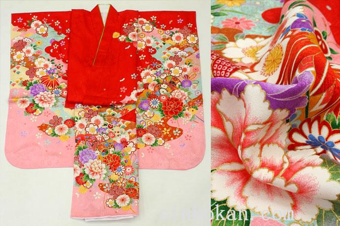 七五三 正絹7歳用女の子高級着物◆赤色系 鼓◆sdyuri023