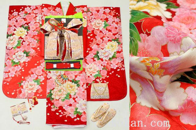 七五三 正絹7歳用女の子高級着物フルセット◆赤色系 鞠◆sdyuri027
