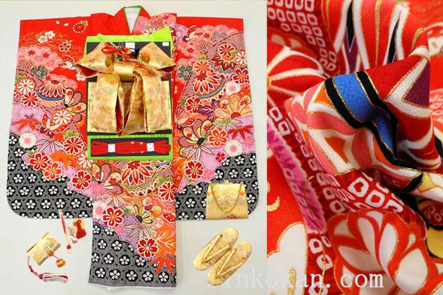 七五三 7歳用女の子高級着物フルセット◆赤色系 しぼり柄 鞠に桜◆sdss002