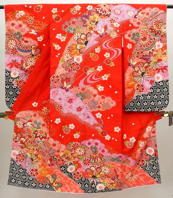 七五三 7歳用女の子高級着物◆赤色系 しぼり柄 鞠に桜◆sdss002