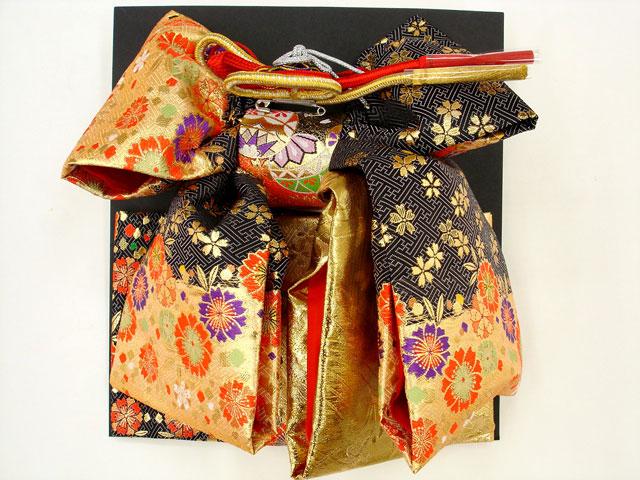 七五三・祝着 7歳女の子用高級段織り 結び帯 大寸◇黒金色系◇1033