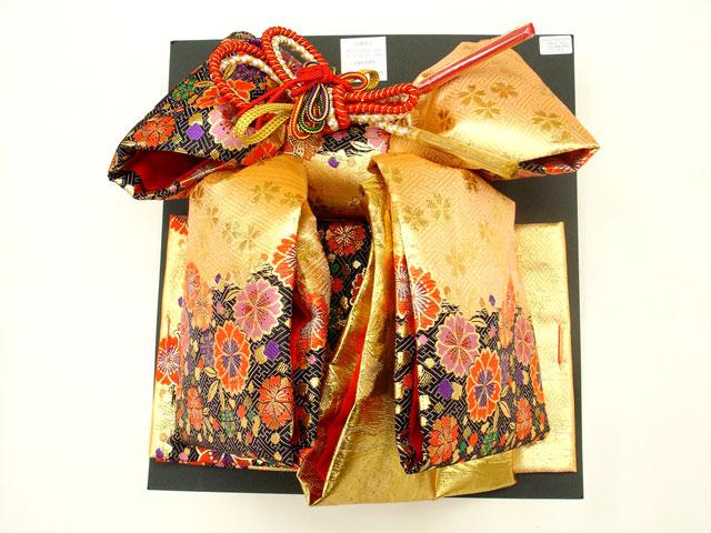 七五三・祝着 7歳女の子用高級段織り 結び帯 大寸◇金黒色系◇1030