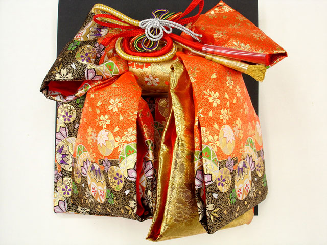 七五三・祝着 7歳女の子用高級段織り 結び帯 大寸◇朱黒色系◇1027