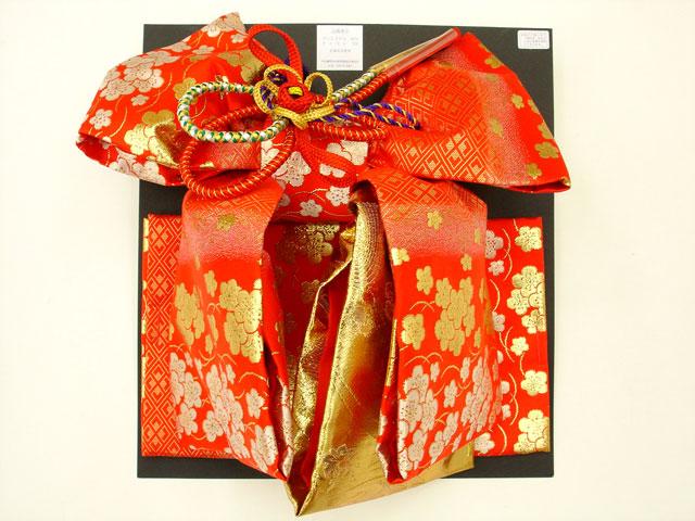 七五三・祝着 7歳女の子用高級段織り 結び帯 大寸◇朱赤色系◇1039