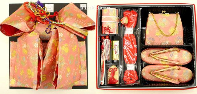 7歳女の子用 同柄・同色の結び帯・箱せこペアセット◆淡桃色◆6006