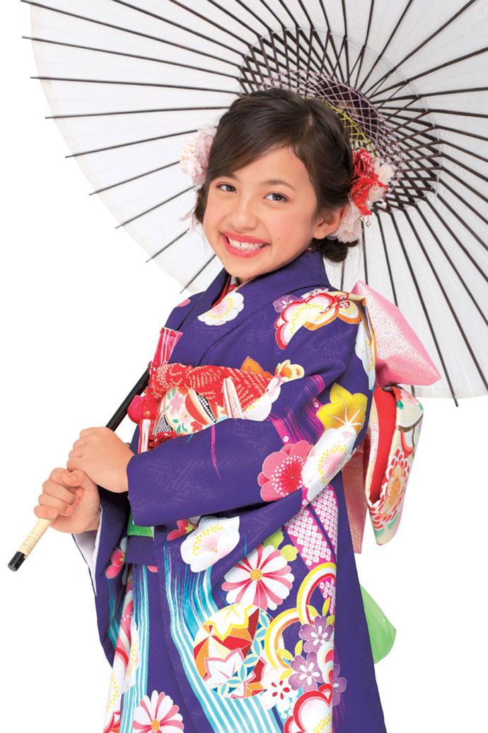 ◆ブランド キューティーデビル◆2018年新作モデル 七五三 7歳用女の子着物フルセットCA704