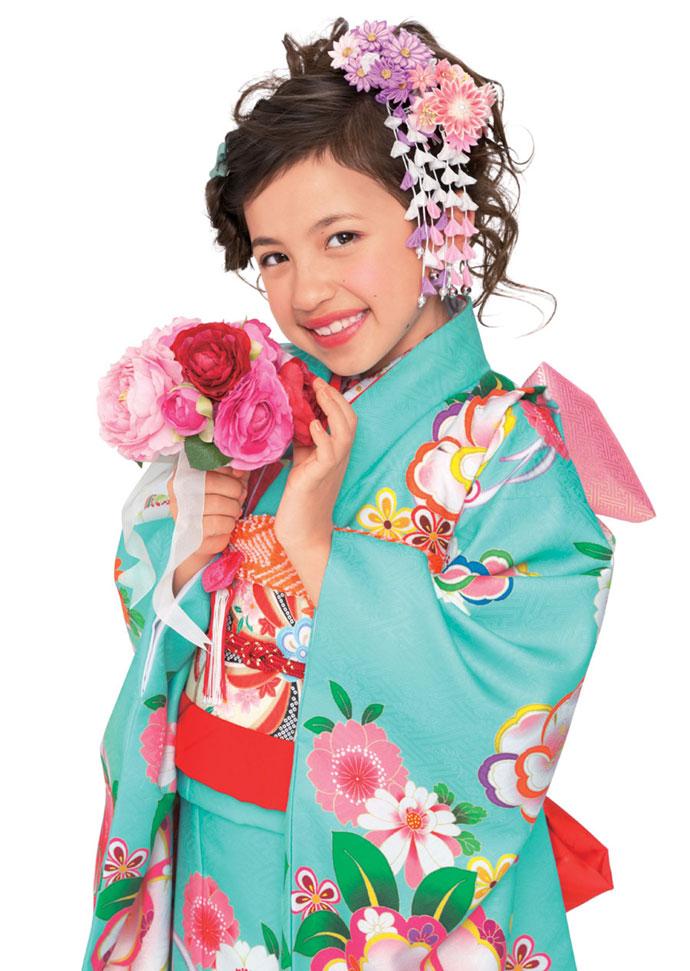 ◆ブランド キューティーデビル◆2018年新作モデル 七五三 7歳用女の子着物フルセットCA703