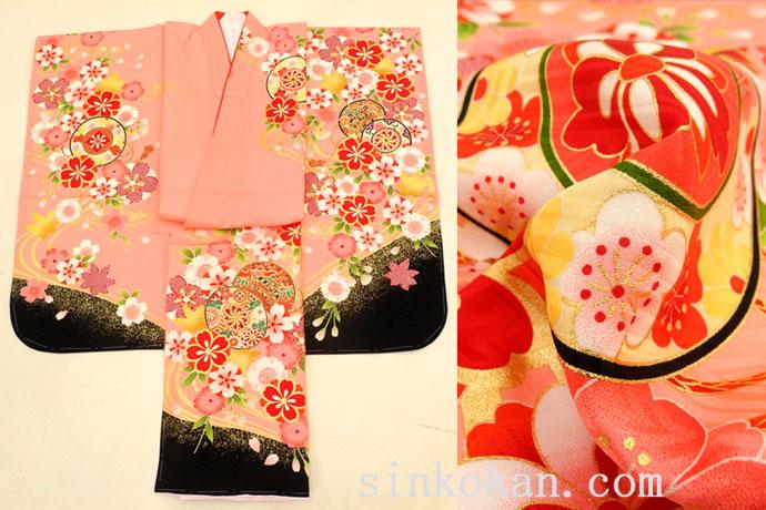七五三 正絹7歳用女の子高級着物◆ピンク系 桜に鼓◆sdyuri1005