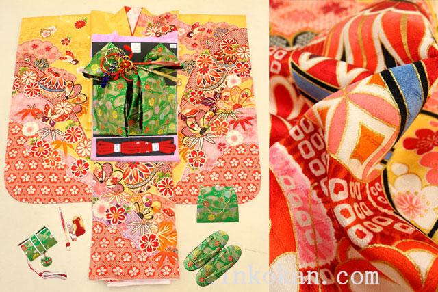 七五三 正絹7歳用女の子高級着物フルセット◆黄色系 しぼり柄 鞠に桜◆sdyuri1009