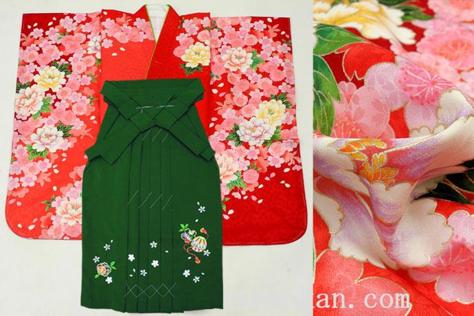 卒園式や七五三に! 正絹7歳女子用高級着物と袴セット◆赤色系 鞠◆sdyuri027