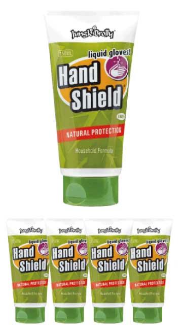 ジャングルブロリー Jungle Brolly ハンドシールド Hand Shield 150ml 5本セット【家庭用】 液体グローブ ハンドクリーム 皮膚保護【送料無料】【スーパーセール対象商品】