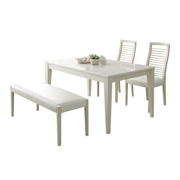 【送料無料】ダイニング4点セット 食卓4点 UV塗装 光沢 ダイニングセット 食卓セット 伸長式テーブル ベンチ ABBY アビー