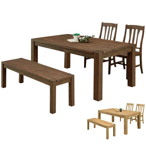 【送料無料】 ダイニングセット 4点 ベンチ 無垢 ダイニングテーブルセット 4人掛け 4人用 ダイニングテーブル 木製 食卓セット