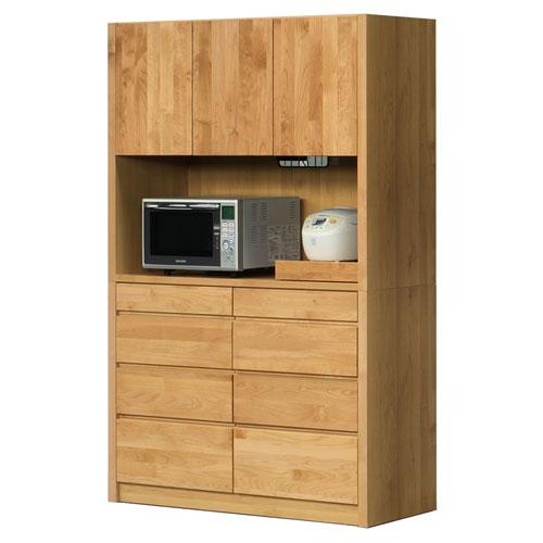 【開梱設置無料】【送料無料】日本製 食器棚  レンジボード 木製 完成品 キッチンボード レンジ台 オープンボード 国産 ナチュラル 幅124cm