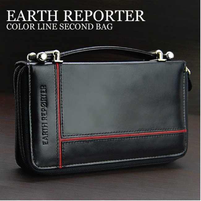 EARTH REPORTER 財布を一回り大きくしたミニセカンドバッグ 大きめサイフ メンズウォレット 紳士用財布 収納