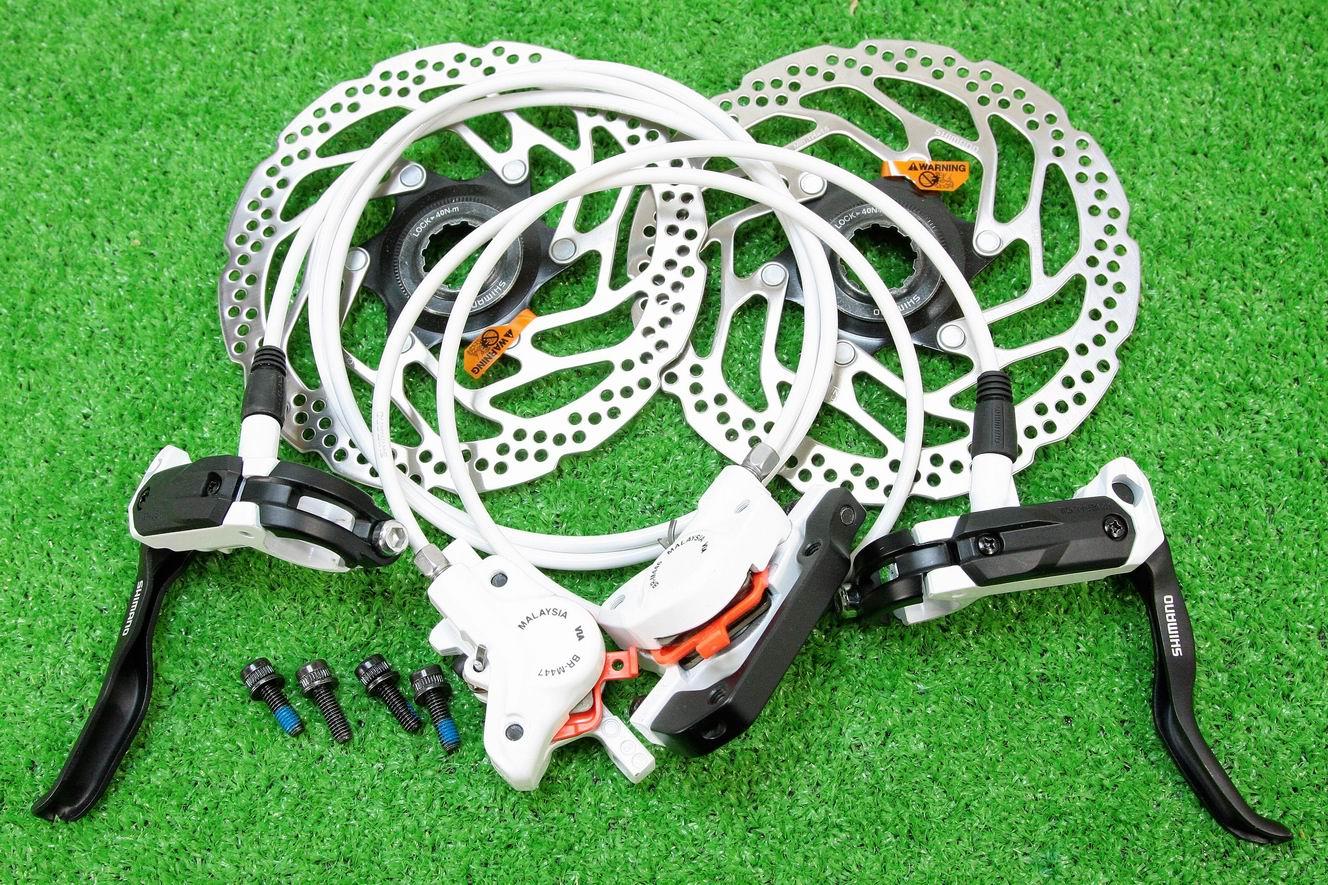 【即納】シマノ(SHIMANO) 高性能 油圧ディスクブレーキ BL-M505 BR-M446 SM-RT30 センターロックローター付 前後セット ホワイト★自転車パーツ