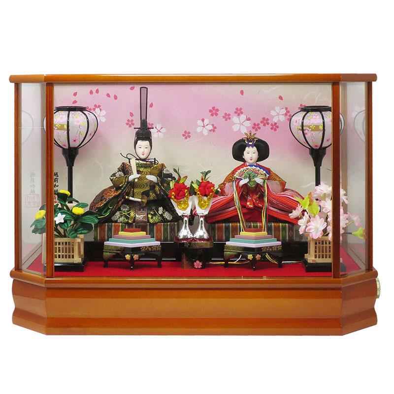【お買い物マラソンポイント5倍】雛人形 コンパクト ケース飾り おしゃれ かわいい 木製 福宝作 名前旗付き