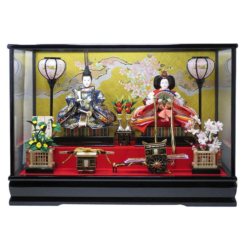 雛人形 コンパクト ケース飾り おしゃれ かわいい 木製 福宝作 名前旗付き