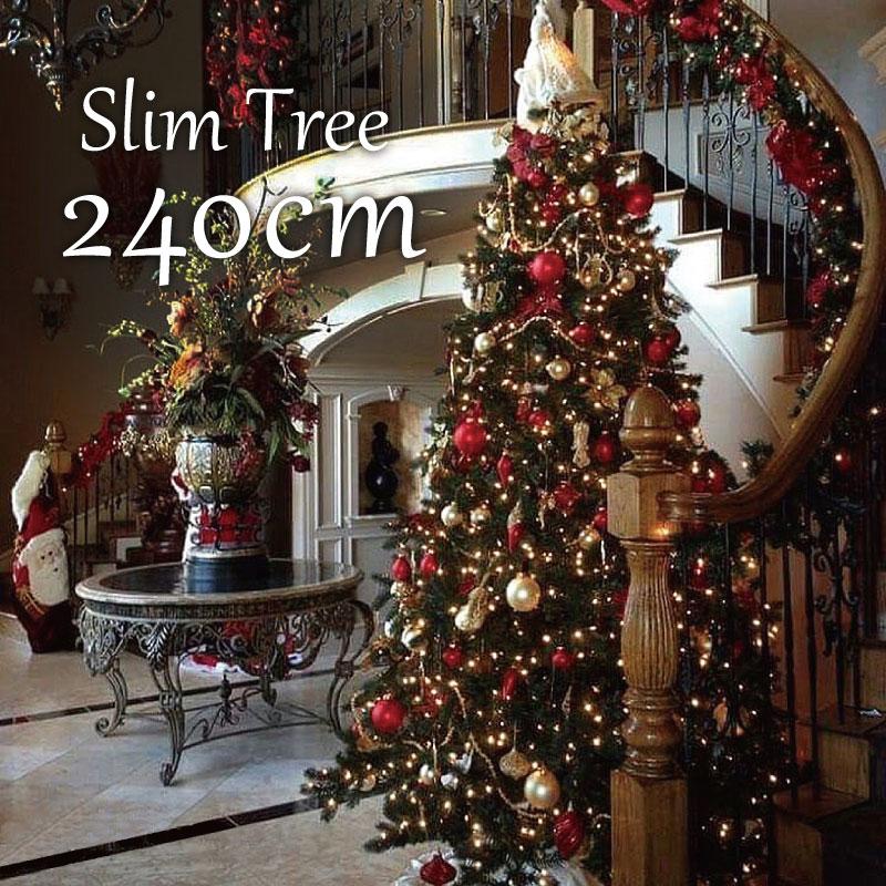 クリスマスツリー スリムツリー240cm おしゃれ ヌードツリー