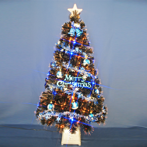 クリスマスツリー 北欧 おしゃれ 120cmブラックファイバーツリーセット12(20球ブルーLED付き) オーナメント セット LED