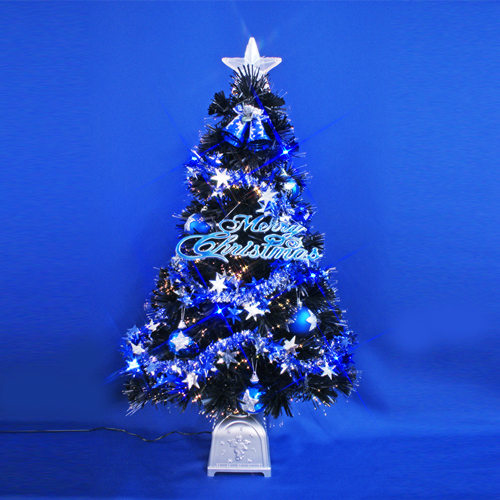 北欧 おしゃれなクリスマスツリー 90cmブラックファイバーツリーセット12(14球ブルーLED付き)