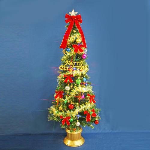 クリスマスツリー 北欧 おしゃれ 180cmファイバーツリーセット12 LED48球付き オーナメント セット LED