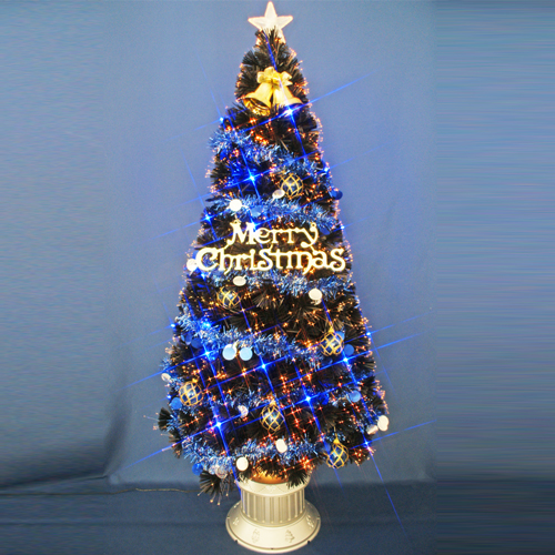 クリスマスツリー 北欧 おしゃれ 150cmブラックファイバーツリーセット オーナメント セット LED