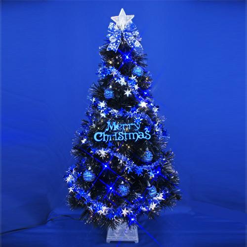 クリスマスツリー 北欧 おしゃれ ブラックファイバーツリーセット120cm 11 オーナメント セット LED