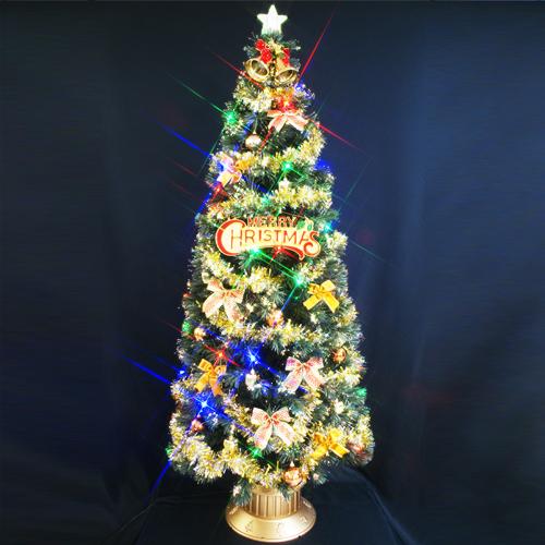 クリスマスツリー 北欧 おしゃれ ファイバーツリー210cm セット(マルチLED54球付)11 オーナメント セット LED 2m 3m 大型 業務用