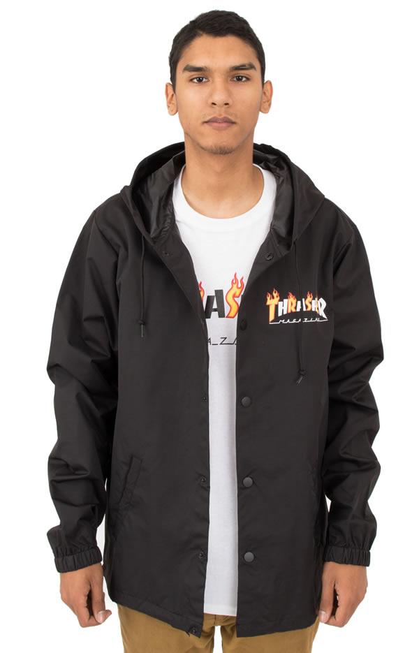 Thrasher Magazine(スラッシャー)コーチジャケット(US企画)Flame Mag Coaches Jacket Black スケボー SKATE SK8 スケートボード HARD CORE PUNK ハードコア パンク HIPHOP ヒップホップ SURF サーフ レゲエ reggae スノボー スノーボード Snowboard NINJA X