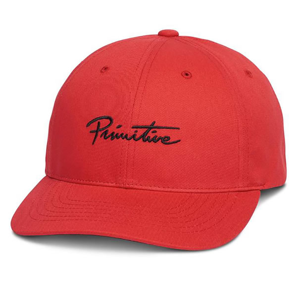 Primitive (primitive) cap hat ダッドハット NUEVO SCRIPT DAD HAT Coral Red  skateboard SKATE SK8 skateboarding HARD CORE PUNK hard-core punk HIPHOP  hip-hop ... e0d5d3ef1c9