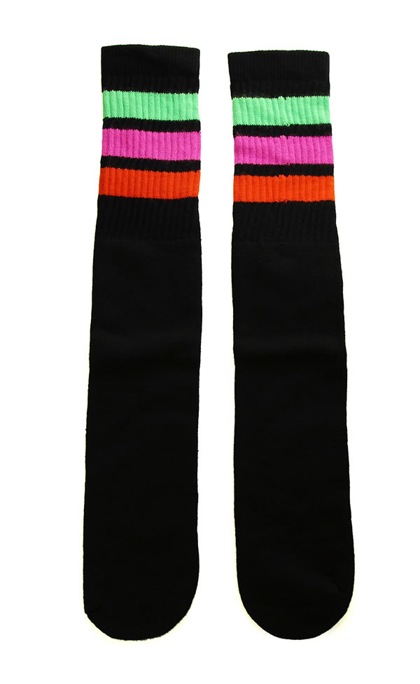 db5b708bbd8 SkaterSocks long socks socks man and woman combined use socks skating  skateboard tube socks Knee high Black tube socks with Neon Green-Hot Pink- Orange ...