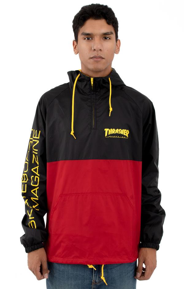 Thrasher Magazine(スラッシャー マガジン)US企画 アノラック ハーフジップ ナイロンジャケット Mag Logo Anorak Black/Red/Yellow スケボー SK8 スケートボード HARD CORE PUNK ハードコア パンク HIPHOP ヒップホップ SURF サーフ スノボー スノーボード Snowboard NINJA X