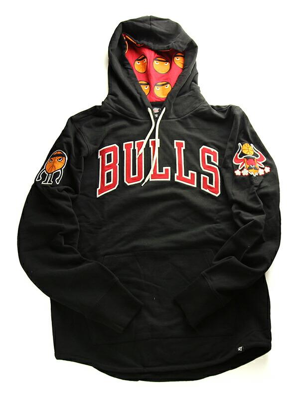 '47 Brand(フォーティーセブン)パーカー フード プルオーバー Bulls Men's '47 PF STRIKE Black Pete Fowler NBA Global Artist Project Black(ピート・ファウラー)ブルズ バスケ バスケットボール スケボー SKATE SK8 スケートボード パンク HIPHOP ヒップホップ