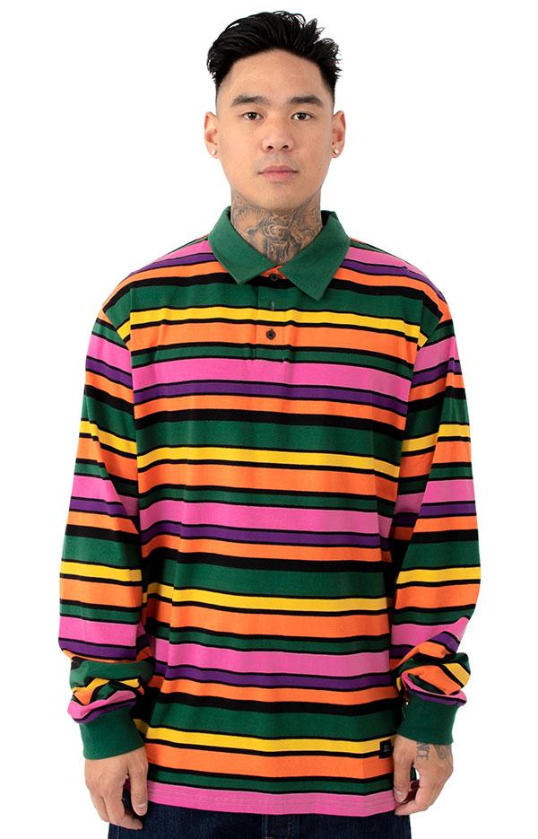 LAZY OAF(レイジーオーフ)ポロシャツ 長袖 ストライプ Stripy Polo Shirt Multi-colorスケボー SK8 スケートボード HARD CORE PUNK ハードコア パンク HIPHOP ヒップホップ SURF サーフ スノボー スノーボード Snowboard NINJA X
