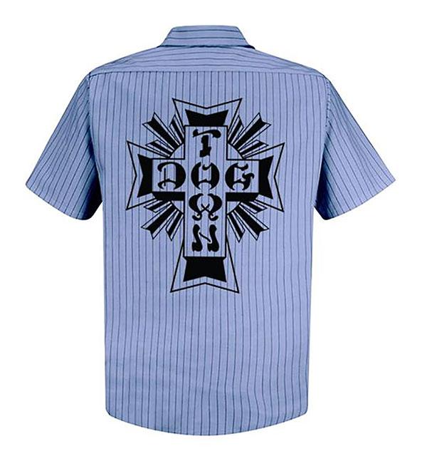 Dogtown(ドッグタウン)ワークシャツ ストライプ Workshirt Blue(ストライプ柄)スケボー SKATE SK8 スケートボード HARD CORE PUNK ハードコア パンク HIPHOP ヒップホップ SURF サーフ レゲエ reggae スノボー スノーボード Snowboard NINJA X