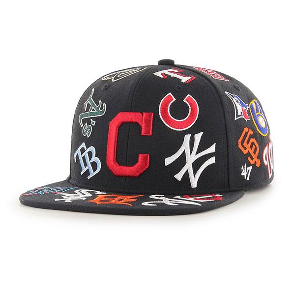 '47(フォーティセブン)Forty Seven メジャーリーグ30球団ロゴ入り オールスター2019 キャップ 帽子 スナップバックハット MLB TEAM UP 2019 '47 CAPTAIN Black/Multi-Wappen