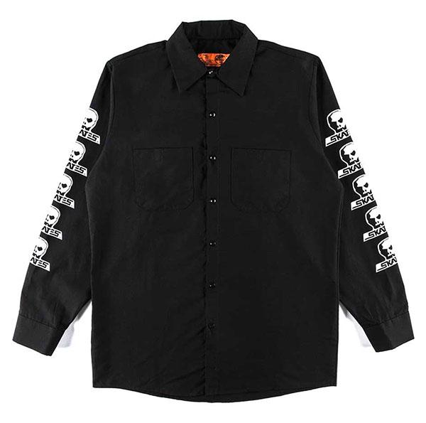 Skull Skates(スカルスケーツ)ワークシャツ 長袖 Long Sleeve Work Shirt Black スケボー SKATE SK8 スケートボード HARD CORE PUNK ハードコア パンク HIPHOP ヒップホップ SURF サーフ レゲエ reggae スノボー スノーボード Snowboard NINJA X