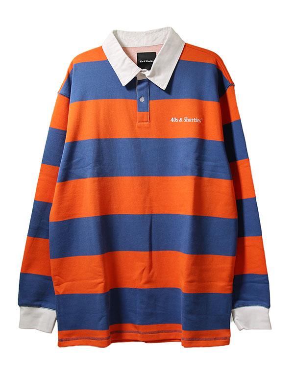 40s & Shorties(フォーティーズアンドショーティーズ)ラガーシャツ 長袖 Regulation Rugby Shirt Blue/Orange(ボーダー柄)スケボー SKATE SK8 スケートボード HARD CORE PUNK パンク HIPHOP ヒップホップ SURF サーフ レゲエ reggae スノボー スノーボード