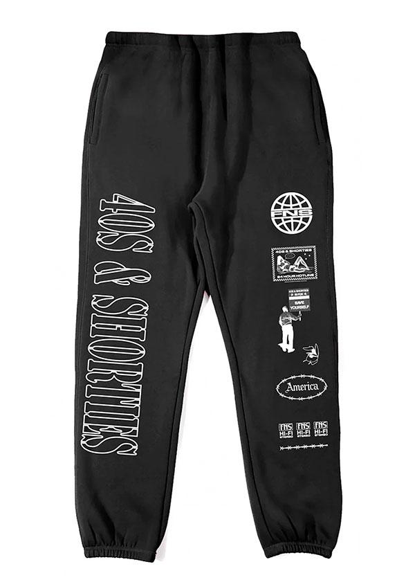 40s & Shorties(フォーティーズアンドショーティーズ)スウェットパンツ Working Title Sweatpants Black スケボー SKATE SK8 スケートボード HARD CORE PUNK ハードコア パンク HIPHOP ヒップホップ SURF サーフ レゲエ reggae スノボー スノーボード Snowboard